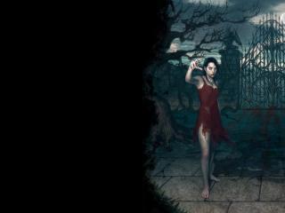 обои Вампирша в красном платье фото
