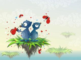 обои Рисованые голубые медвежата с бабочками фото