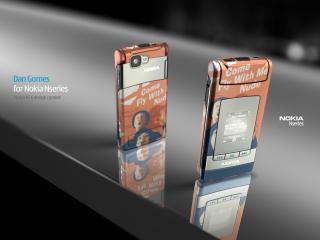 обои Nokia N76 желтая красивый дизайн фото