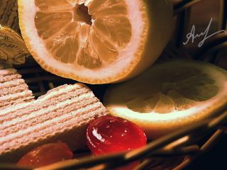 обои для рабочего стола: Лимон, конфеты, вафли