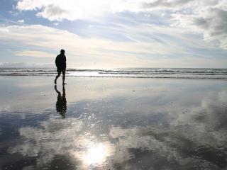обои Одинокий странник на берегу моря фото