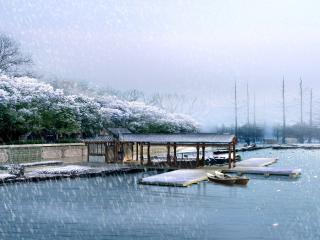 обои Китайский причал зимой фото