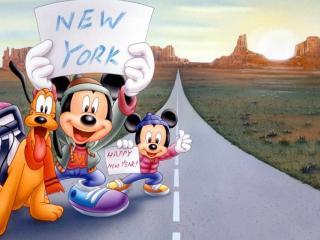обои Микки Маус на дороге фото