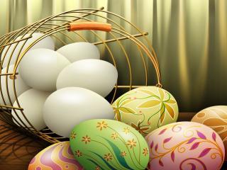 обои Basket with Easter eggs фото
