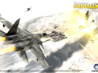 обои Взрыв истребителя в воздухе фото