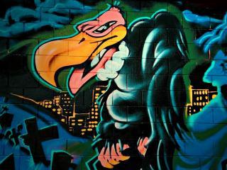обои Граффити злобная птица фото