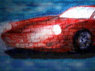 обои Граффити красная тачка фото