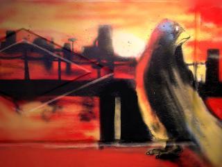 обои Граффити пингвин фото
