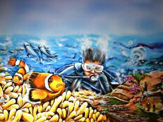 обои Граффити под водой фото