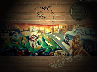 обои Граффити мужчина и женщина фото