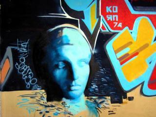 обои Граффити голова статуи фото