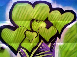 обои Граффити зеленые сердечки фото