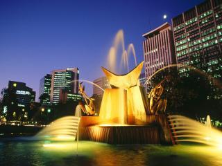 обои Австралия. Фонтан с подсветкой фото