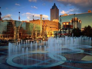 обои Площадь с фонтанами фото