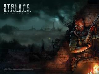 обои Stalker - герой в респираторе фото