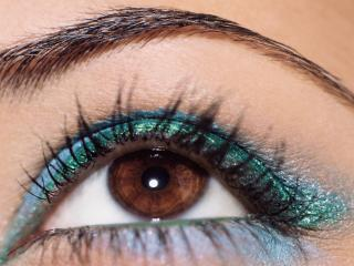 обои Макияж глаза - Бирюзовые и голубые тени  фото
