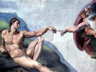 обои Микеланджело - Сотворение Адама фото