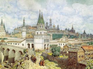обои Расцвет Кремля. Всехсвятский мост и Кремль фото