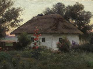обои Ефим ВОЛКОВ Украинский пейзаж с хатой фото