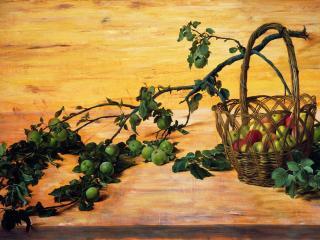 обои Юрий АРСЕНЮК (род. 1955). Сломанная ветка яблони фото
