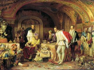 обои Иван Грозный показывает сокровища английскому послу Горсею фото