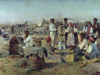 обои Владимир МАКОВСКИЙ (1846-1920). Ярмарка в Полтаве фото