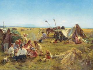 обои Константин МАКОВСКИЙ (1839-1915). Крестьянский обед в поле фото