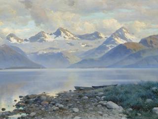 обои Константин КРЫЖИЦКИЙ (1858 — 1911). Озеро в горах фото