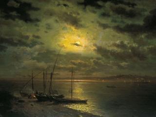 обои Лев КАМЕНЕВ (1833-1886). Лунная ночь на реке. 1870-е фото