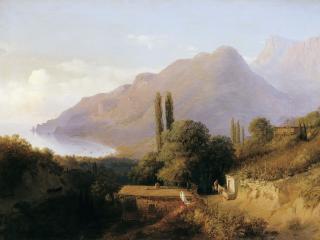 обои для рабочего стола: Лев ЛАГОРИО (1827-1905). Крымский пейзаж
