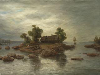 обои Лев ЛАГОРИО (1827-1905). Хутор на острове фото