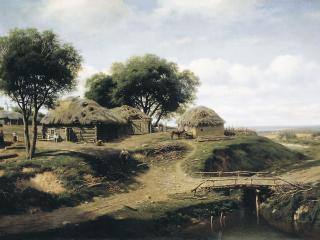 обои Михаил (Константинович) КЛОДТ (1832-1902). Село в Орловской губернии фото