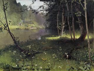 обои Николай ДУБОВСКОЙ (1859-1918). Лесная река фото