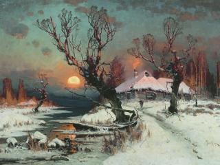 обои Юлий КЛЕВЕР  Закат солнца зимой. 1891 фото