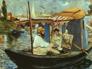 обои Э. Мане - Клод Мане в своей лодке, Аджантей фото