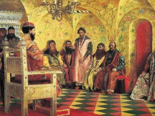 обои Сидение царя Михаила Фёдоровича с боярами фото