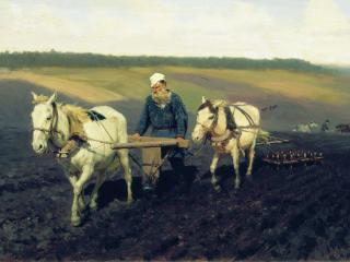 обои Илья РЕПИН (1844-1930). Пахарь (Л.Н.Толстой на пашне) фото