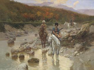 обои Франц РУБО (1856-1928). Казаки у горной речки 1892 фото