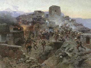 обои Франц РУБО (1856-1928). Штурм аула Гимры. 1891 фото