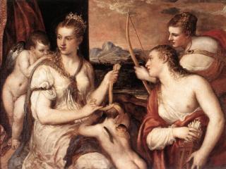 обои для рабочего стола: Тициан - Воспитание Амура