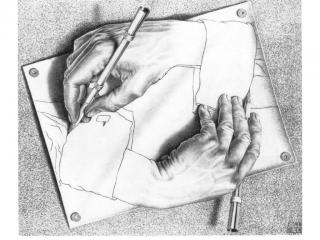 обои Морис Эшер - Рисующие руки фото