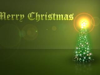 обои Merry Christmas зелёная открытка фото