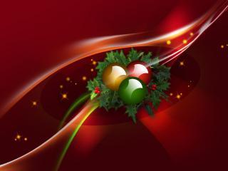 обои Плющ и шарики на Рождество фото