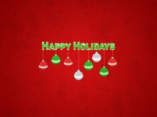 обои Happy Holidays и ёлочные шарики фото