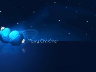 обои Синие шарики, тёмная ночь фото
