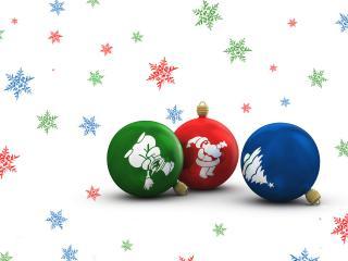 обои Ёлочные шарики и конфетти фото