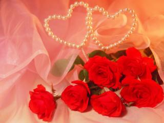 обои Цветы и 2 сердечка фото