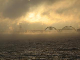 обои Густой туман над мостом - вид с моря фото