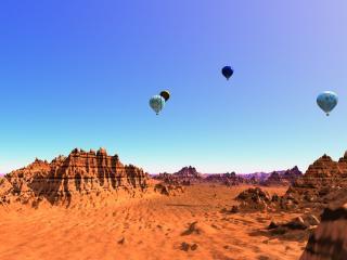 обои Летающие шары над пустыней фото