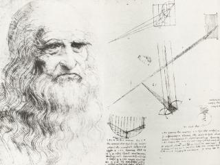 обои Автопортрет Леонардо да Винчи и его записи фото